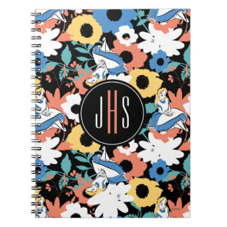 Alice in Wonderland Floral Retro Monogram Spiral Notebooks
