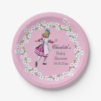 Alice in Wonderland Floral Wreath Baby Shower Paper Plate