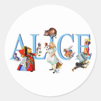 ALICE IN WONDERLAND & FRIENDS ROUND STICKER