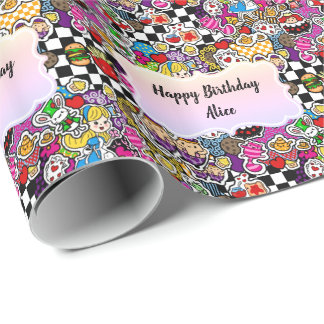 Alice in Wonderland Gift Wrap Personalized