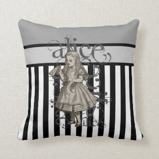 Alice In Wonderland Grunge (Black & White) Throw Pillow