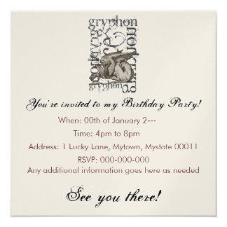 "Alice In Wonderland Gryphon Grunge (Single Figure) 5.25"" Square Invitation Card"