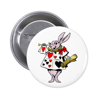Alice in Wonderland Hare, Card and trumpet - Tale 2 Inch Round Button