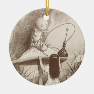 Alice in Wonderland, Hookah Smoking Caterpillar Round Ceramic Ornament