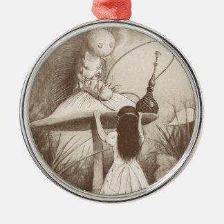 Alice in Wonderland, Hookah Smoking Caterpillar Silver-Colored Round Ornament