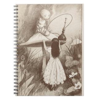 Alice in Wonderland, Hookah Smoking Caterpillar Spiral Notebook