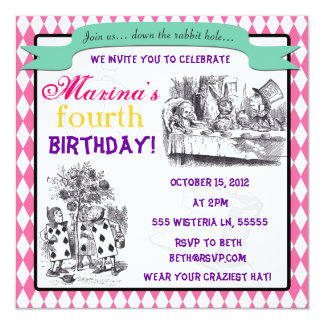 Alice in Wonderland Invitation - Birthday, Shower,