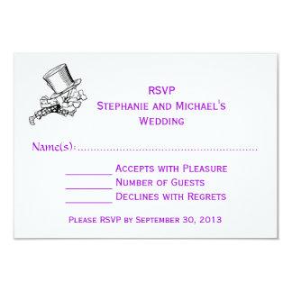 Alice In Wonderland Mad Hatter Wedding RSVP Purple Card