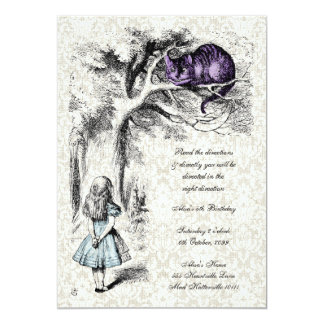 "Alice in Wonderland Mad Hatters Tea Party Birthday 5"" X 7"" Invitation Card"