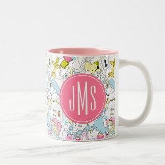 Alice in Wonderland | Monogram Oversized Pattern Two-Tone Coffee Mug