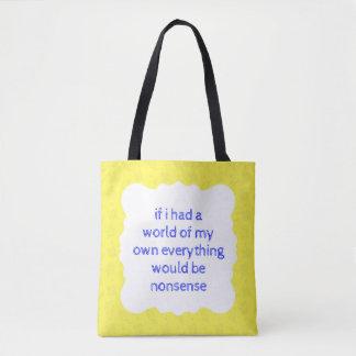 Alice in Wonderland Nonsense Shopper Bag