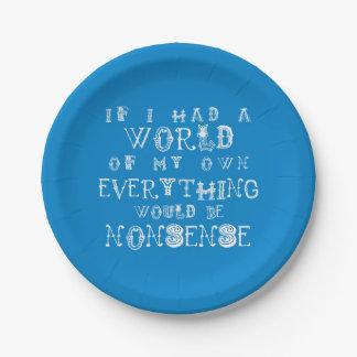 Alice In Wonderland Paper Plate Nonsense