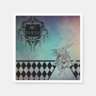 Alice in Wonderland Party White Rabbit Paper Napkins