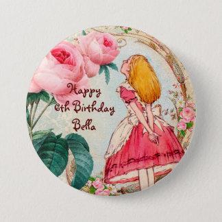 Alice in Wonderland Personalized Birthday 3 Inch Round Button