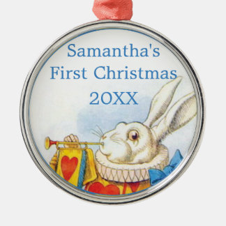 Alice in Wonderland Personalized First Christmas Silver-Colored Round Ornament