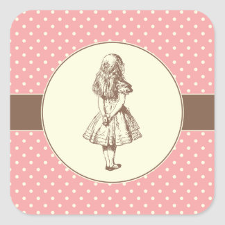 Alice in Wonderland Polka Dots Square Sticker