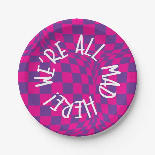 Alice in Wonderland - Purple Plates - Were all Mad 7 Inch Paper Plate