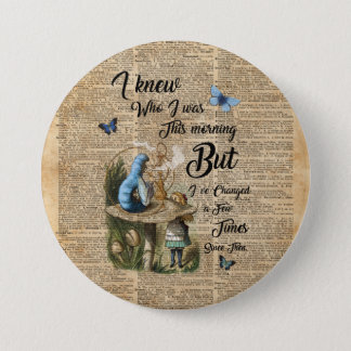 Alice in Wonderland Quote Vintage Dictionary Art 3 Inch Round Button