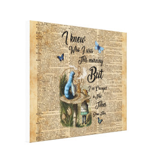 Alice in Wonderland Quote Vintage Dictionary Art Canvas Print