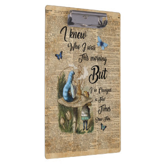 Alice in Wonderland Quote Vintage Dictionary Art Clipboard