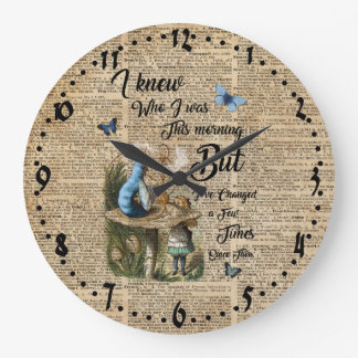 Alice in Wonderland Quote Vintage Dictionary Art Large Clock