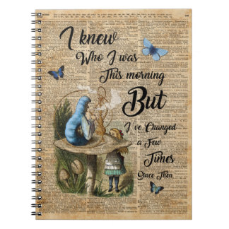 Alice in Wonderland Quote Vintage Dictionary Art Notebooks