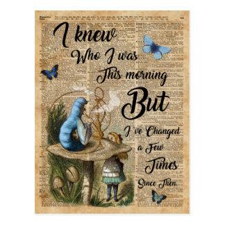 Alice in Wonderland Quote Vintage Dictionary Art Postcard