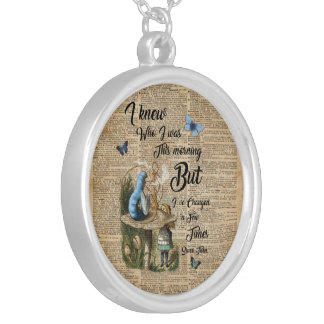 Alice in Wonderland Quote Vintage Dictionary Art Silver Plated Necklace
