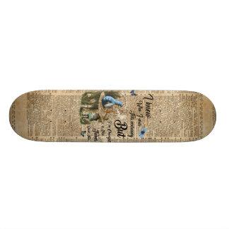 Alice in Wonderland Quote Vintage Dictionary Art Skate Board Deck