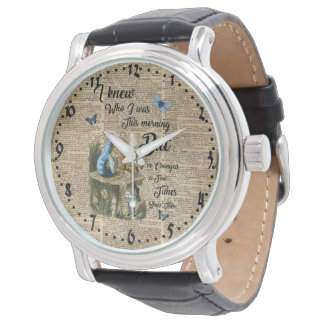 Alice in Wonderland Quote Vintage Dictionary Art Wristwatches