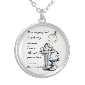 Alice in Wonderland Quotes Silver Plated Necklace