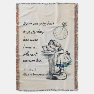 Alice in Wonderland Quotes Throw Blanket