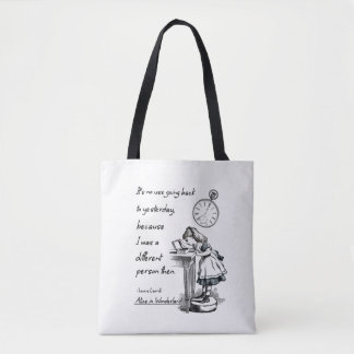 Alice in Wonderland Quotes Tote Bag