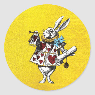 Alice in Wonderland Rabbit on Gold Classic Round Sticker