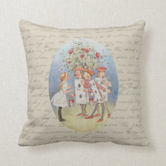 Alice in Wonderland Roses Throw Pillow