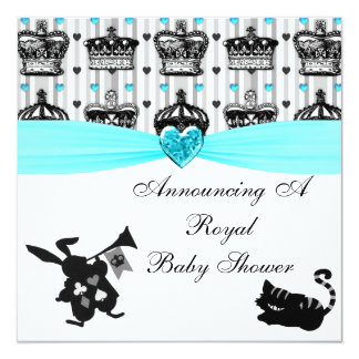 Alice In Wonderland Royal Crowns Baby Shower Card