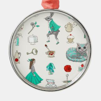 Alice in wonderland Silver-Colored round ornament