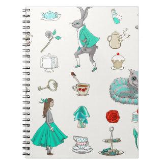 Alice in wonderland spiral note books