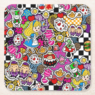 Alice in Wonderland Tea Party Supplies Square Paper Coaster