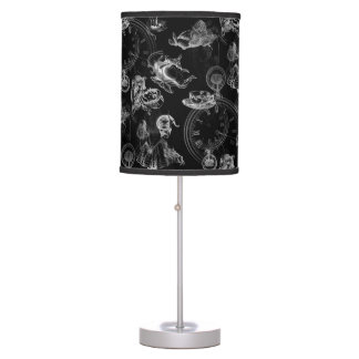 Alice in Wonderland Tea Time Black White Lamp