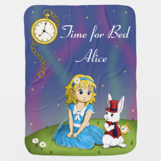 """Alice in Wonderland """"Time for Bed"""" Blanket Stroller Blanket"""