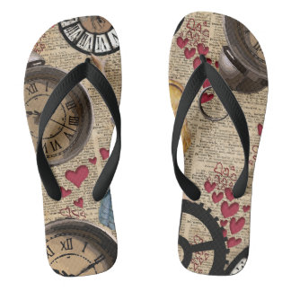 Alice In Wonderland Travelling in Time Flip Flops