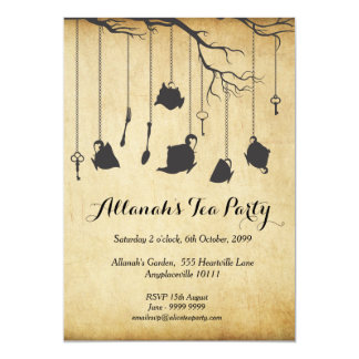 "Alice in Wonderland Unbirthday Birthday Tea Party 5"" X 7"" Invitation Card"