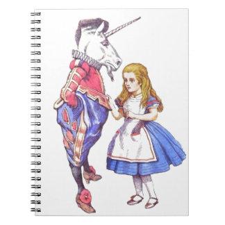 Alice in wonderland & unicorn notebook