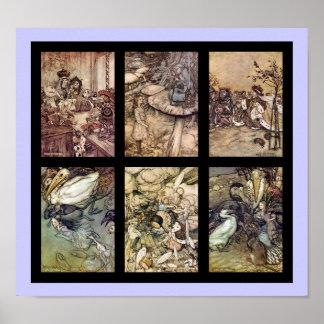 Alice In Wonderland Vintage Poster Set Of 6 Images