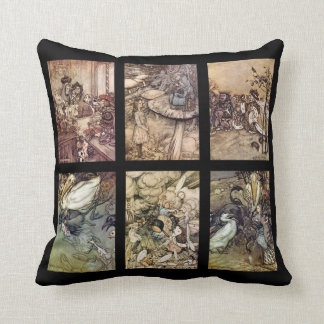 Alice In Wonderland Vintage Poster Set Of 6 Images Throw Pillow