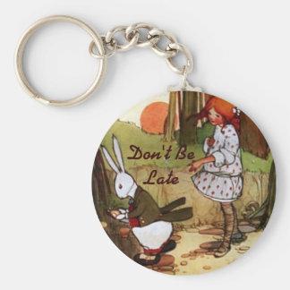 Alice in Wonderland Vintage White Rabbit Keychain