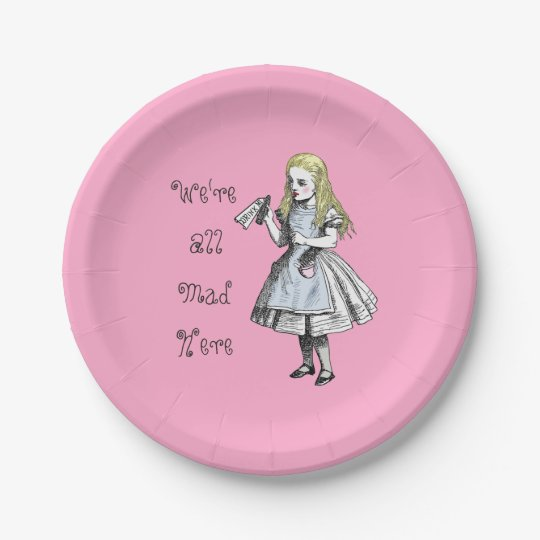 Alice in Wonderland We're All Mad Here Paper Plate 7 Inch Paper Plate