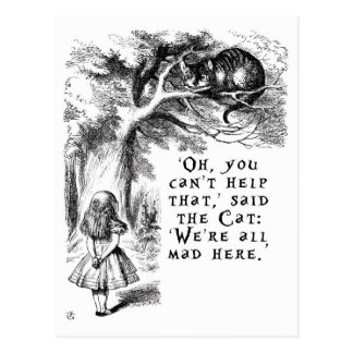 Alice in Wonderland - We're all mad here Postcard