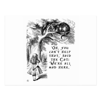 Alice in Wonderland - We're all mad here Postcard